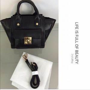 New Black Mini Satchel Crossbody w/ Front Gusset